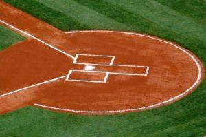 Baseball in batter box